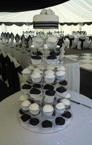 Black & White Cupcake Tower Wedding Cake