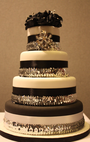 Two-Tone Sequinned Wedding Cake