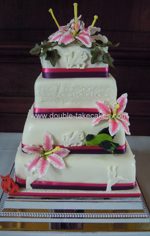 Stargazer Lily Wedding Cake
