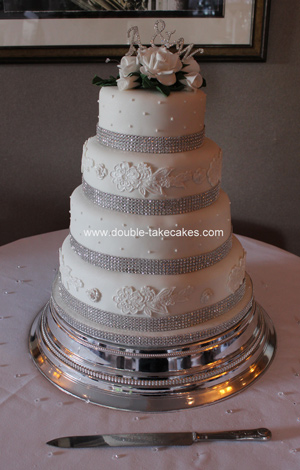Diamante & Ivory Wedding Cake